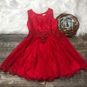 BEAUTEES Dress Girls 6 Red Formal Holiday